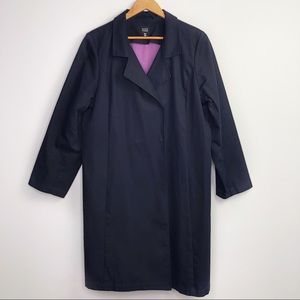 Eileen Fisher Navy Blue Long Cotton Trench Coat XL